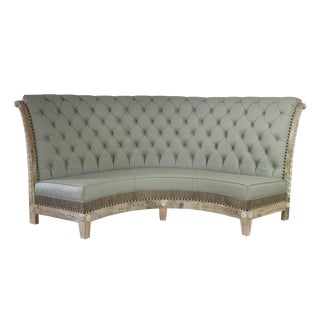Grey Leather Tufted Banquette With Crocodile Embossed Settee For Sale