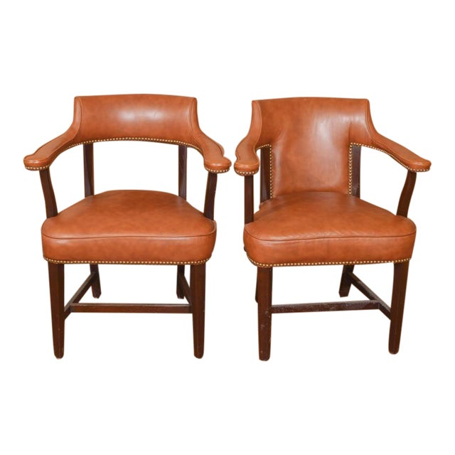vintage leather captain s chairs a pair chairish