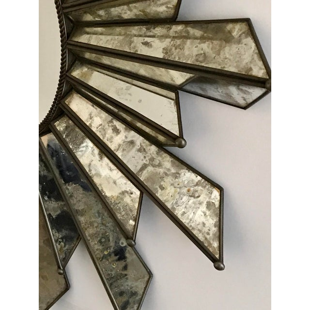 Metal Sunburst Soleil Mirror With Angled Antiqued Mirror Rays For Sale - Image 7 of 9