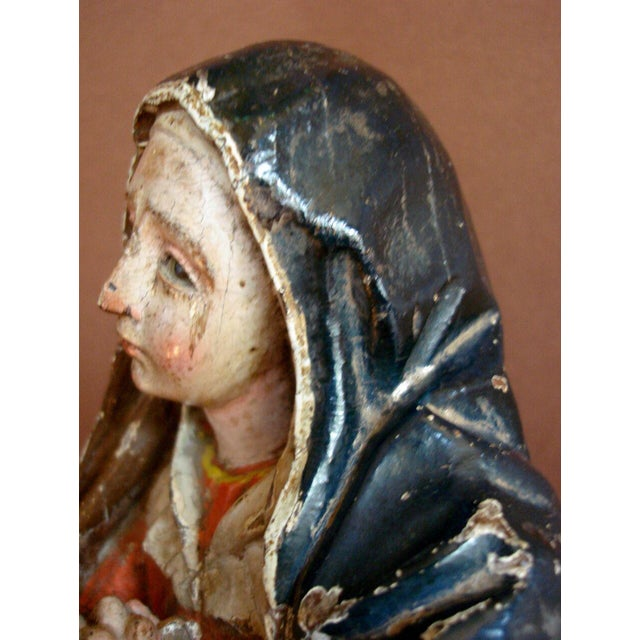 18th Century Antique Spanish Colonial Saint/Virgin - Lady Of Sorrow - Image 7 of 9