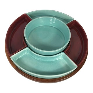1950s Turquoise & Brown Ceramic Lazy Susan