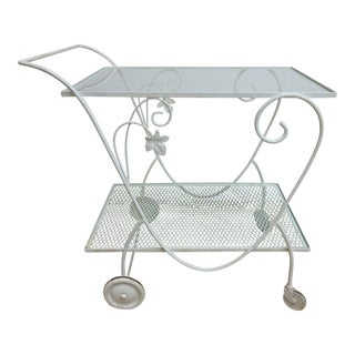 Vintage Woodard Metal Server Bar Cart For Sale