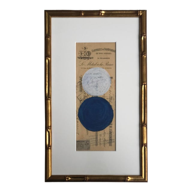 Abstract Pastel on Vintage Paper, French Bank Note #3, Framed For Sale