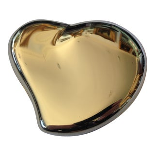 Mid-Century Modern Brass Heart-Shaped Container For Sale