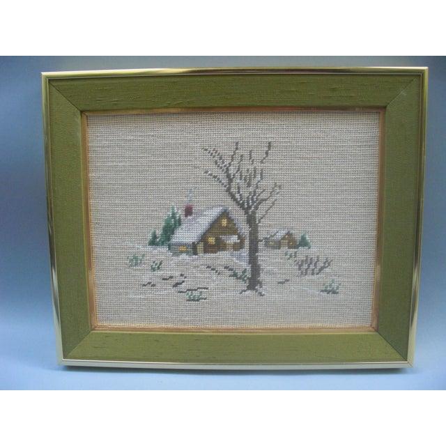 Winter Scene Needlepoint in Green Frame - Image 2 of 3