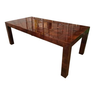 Milo Baughman Burl Wood Parsons Patchwork Dining Table For Sale