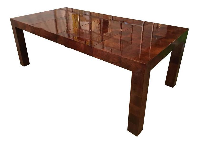 Milo Baughman Burl Wood Parsons Patchwork Dining Table For Sale