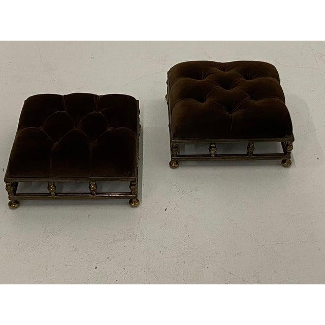 Metal Edwardian Brass & Velvet Footstools - a Pair For Sale - Image 7 of 10