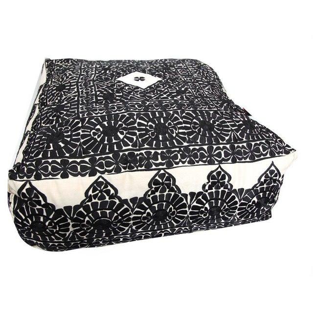 Handmade Moroccan Black Square Floor Pouf - Image 2 of 2