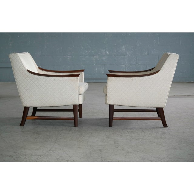 Wood Danish Midcentury Pair of Lounge Chairs in Walnut in the Style of Ole Wanscher For Sale - Image 7 of 10