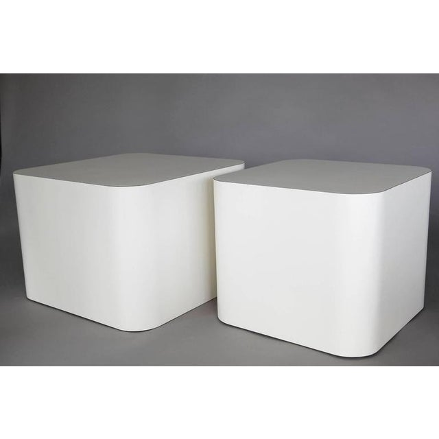 Custom Made White Laminate Cubic End Table or Pedestal, Large For Sale In New York - Image 6 of 8