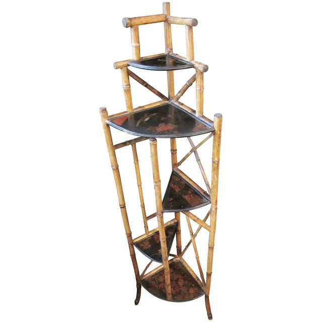 Tan 1900s Art Nouveau Bamboo Chinoiserie Etagere Shelving Corner Shelf For Sale - Image 8 of 8