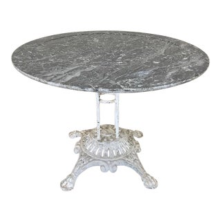 19th Century Cast Iron Marble Top Center Table For Sale