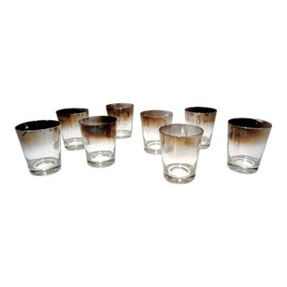 Vitreon Queens Lusterware Silver Fade Chunky Ombre Glasses ~ Set/8 For Sale