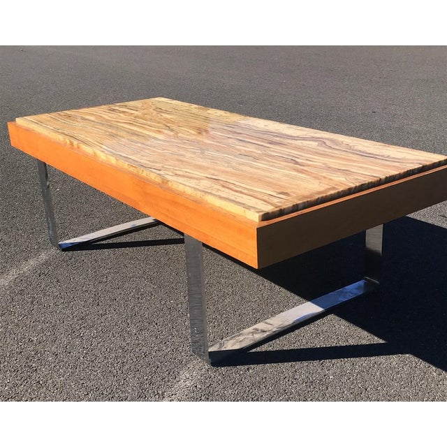 Ilse Möbel Coffee Table With Rare 'Onyx Travertine', Teak & Chrome From Germany For Sale - Image 10 of 12