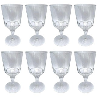Set of Eight Hand-Blown Crystal Wine Glasses For Sale