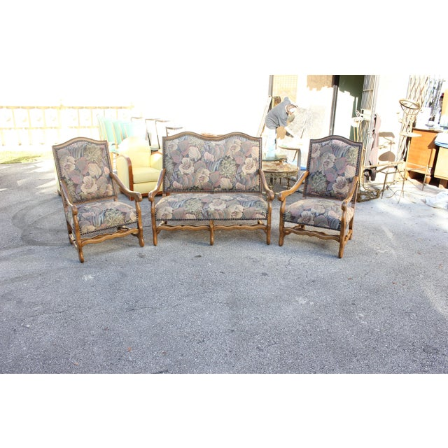 1900s Louis XIII Style Os De Mouton Walnut Settee and Armchairs - Set of 3 For Sale - Image 9 of 11