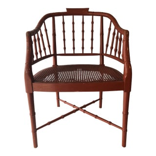 1980s Mid-Century Modern Faux Bamboo Accent Chair Burnt Orange For Sale