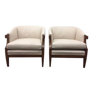 Pair of Curved Armchairs by Baker For Sale