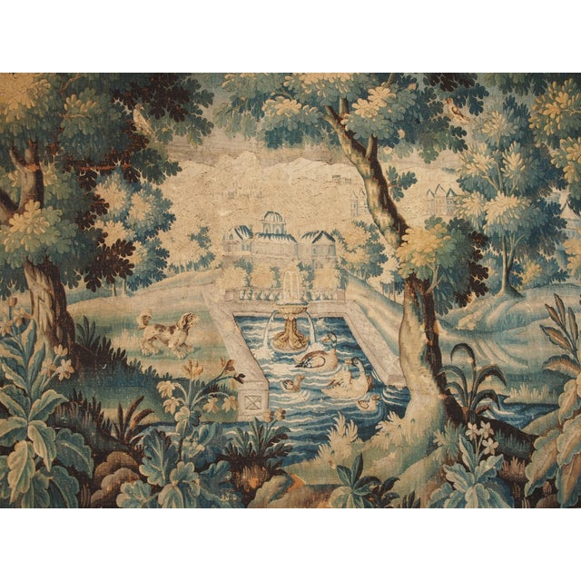 Verdure Tapestry with a Chateau and Fountain For Sale