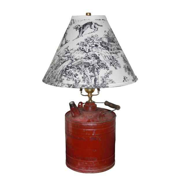 Vintage Gas Can Table Lamp and Shade - Image 1 of 5