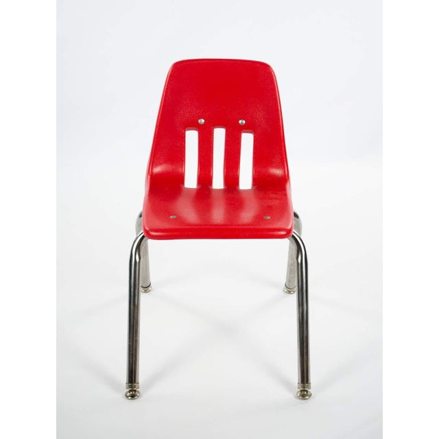Children's Virco Mid-Century Red Stacking School Chairs - Set of 4 For Sale - Image 3 of 12