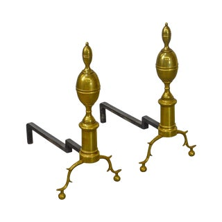 Colonial Williamsburg Virginia Metalcrafters Cw-100-2 Pair of Brass Andirons For Sale