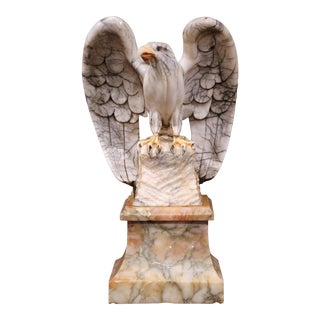 Large 19th Century French Carved Marble Eagle Sculpture on Separate Stand