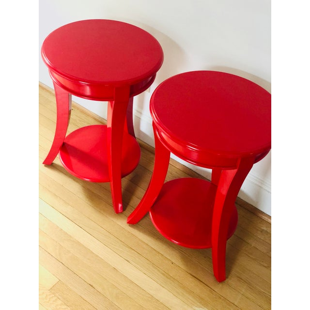 Asian Red Lacquer Round Top End Tables - a Pair For Sale - Image 3 of 5