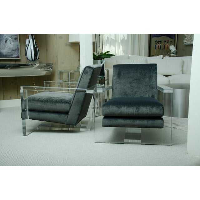 Thayer Coggin Fabulous Pair of Lucite Arm Chairs For Sale - Image 4 of 8