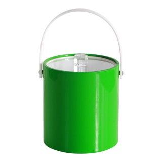 Mid Century Modern Lime Green Vinyl & Lucite Ice Bucket For Sale
