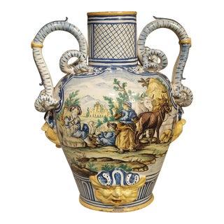 18th Century Italian Majolica Fountain Body/Urn For Sale