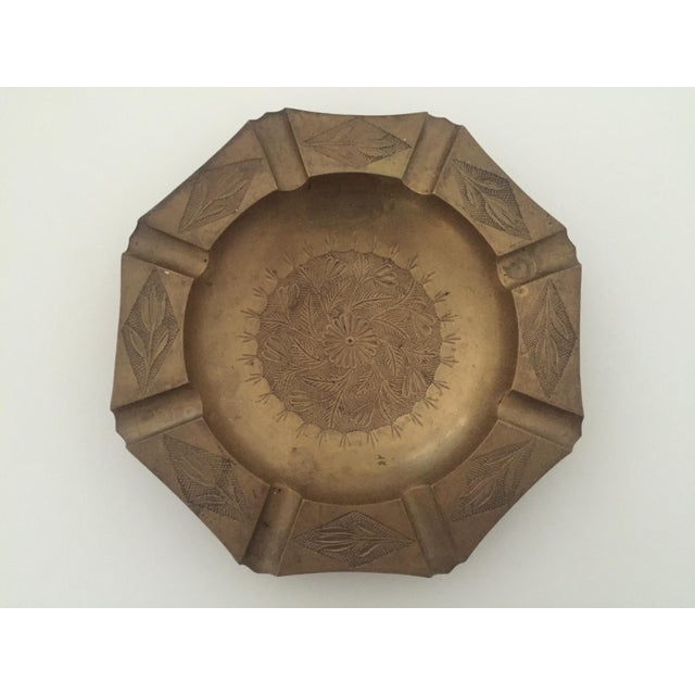 Metal Vintage Mid Century India Brass Octagonal Etched Design Ashtray For Sale - Image 7 of 10