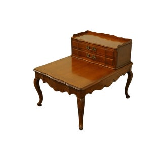 "20th Colonial Early American Manufacturing Colonial Style Solid Cherry 24x30"" Step End Table For Sale"