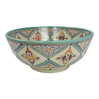 Large Moroccan Pottery Bowl For Sale