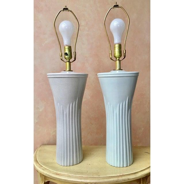 Art Deco Shades of Sea Foam Lamps - A Pair - Image 2 of 8