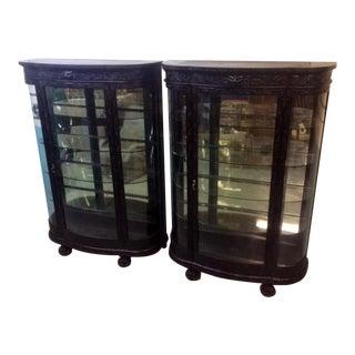 Rj Horner Ebonized Oak Bow Front Cabinets - A Pair