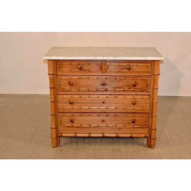 Wood 19th C French Faux Bamboo Chest For Sale - Image 7 of 7