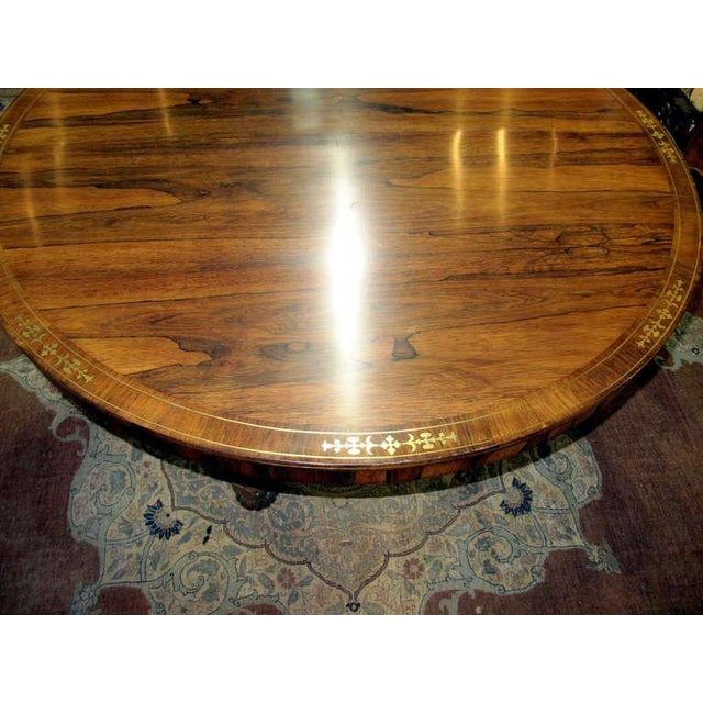 Hollywood Regency Regency Calamander Breakfast or Center Table With Brass Inlay For Sale - Image 3 of 6