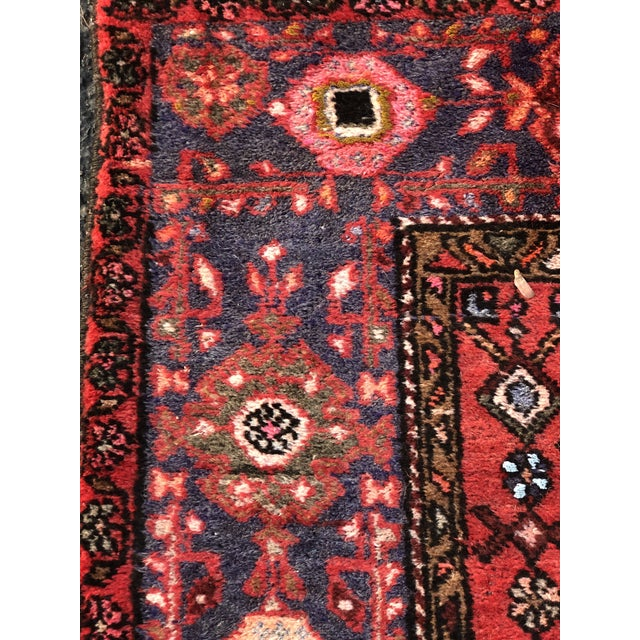 """Textile Vintage Persian Hamadan Rug - 3'11"""" x 6'8"""" For Sale - Image 7 of 11"""
