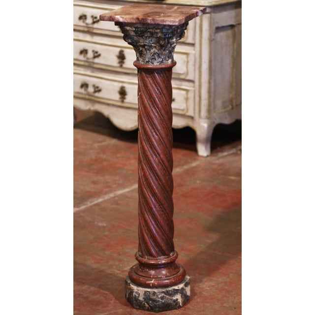 Red 19th Century French Napoleon III Carved Variegated Marble Pedestal Table For Sale - Image 8 of 8