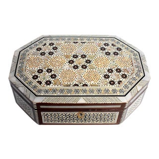 Mother-Of-Pearl Jewelry Box, Octagon Box For Sale