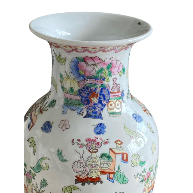19th Century 19th Century Chinese Famille Rose Vase With Pink Flowers For Sale - Image 5 of 10