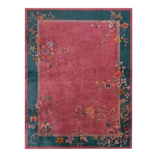 """Antique Chinese Art Deco Rug 9'0"""" X 11'10"""" For Sale"""