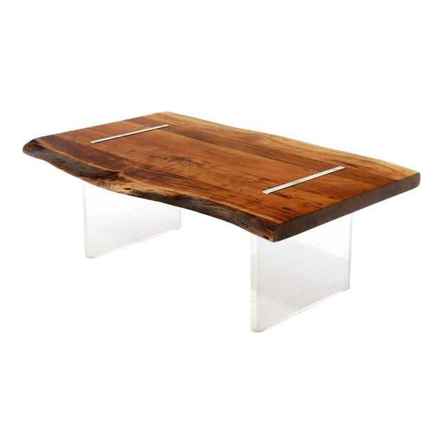large heavy solid teak slab floating top coffee table on lucite legs