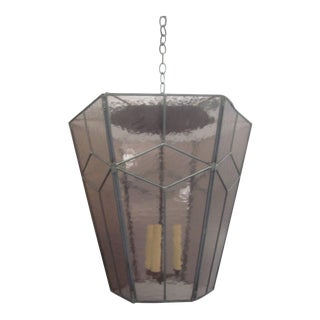 3 Italian Mid-Century Modern Leaded Rose Glass Chandeliers / Pendants / Lanterns