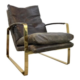 Regina Andrew Modern Brown Vintage Leather Brass Finished Austin Lounge Chair For Sale