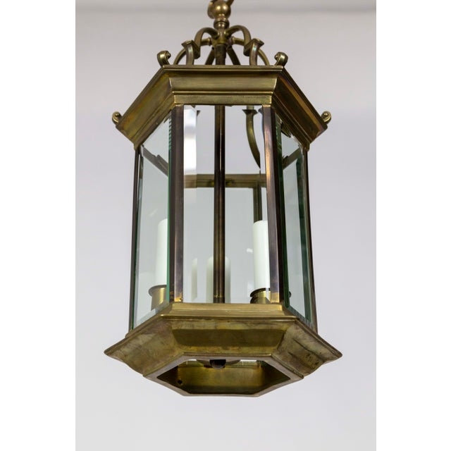 Mid-Century Italian Pagoda-Esque Bronze & Beveled Glass Lantern For Sale In San Francisco - Image 6 of 12