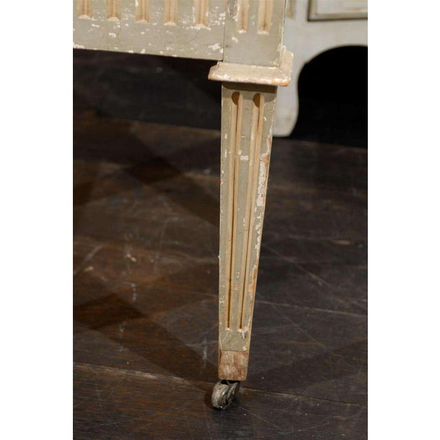 French Drop-Front Nightstand Table on Casters and Marble Top For Sale - Image 10 of 11
