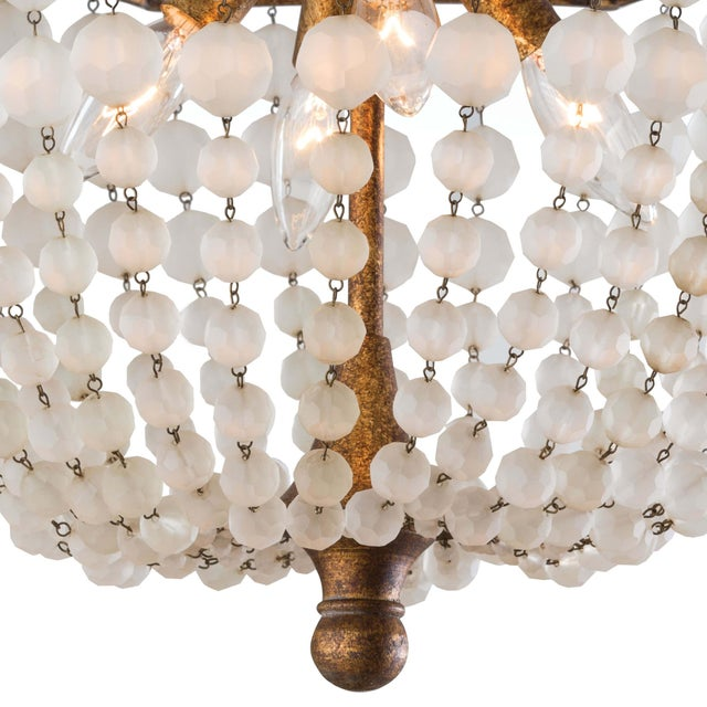 Frosted Crystal Bead Semi Flush Mount For Sale - Image 4 of 5